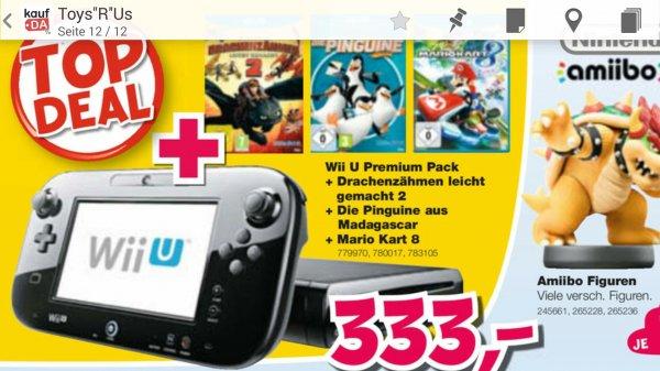 [ToysRus] Wii U Premium Pack + Mario Kart 8 + Drachen zähmen leicht gemacht 2 + Die Pinguine von Madagaskar