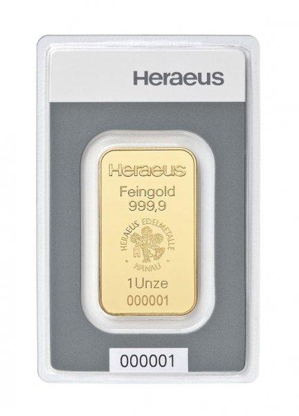31,1g Gramm 1 Unze Goldbarren Heraeus 999,9 Feingold Barren für 1134€ inkl. Versand