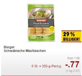 [Kaufland BW/Bayern] Bürger Schwäbische Maultaschen für 0,77€