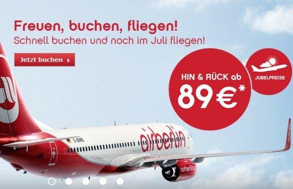 Jubelpreise bei airberlin: Hin- und Rückflüge ab 89€ inkl. 1 Gepäckstück bis 23Kg