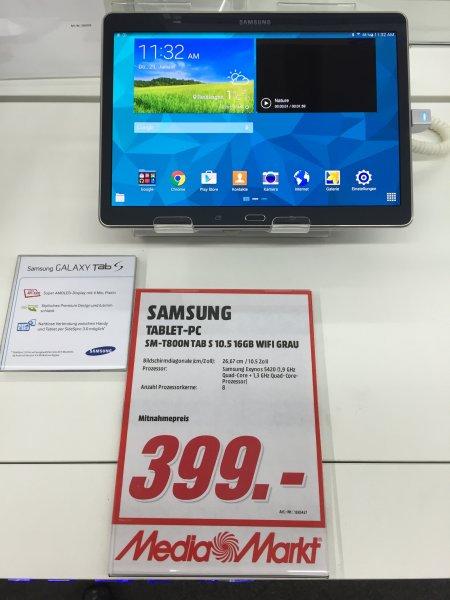 [Media Markt] Samsung Galaxy Tab S 10.5 WiFi für effektiv € 299.- (ohne Cashback für € 399.-!!) [Lokal Reutlingen]
