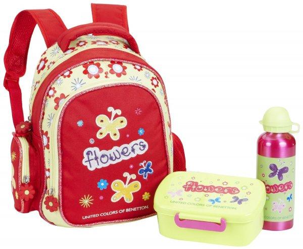 (Prime) Benetton Kinder-Rucksack Kindergarten Set 3 - teilig Butterflies Grün (rot) @Amazon.de