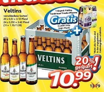 Supergünstig noch bis Dienstag 3.2.: 1 Kasten Veltins Biere bei allen Dursty-Getränkemärkten 10,99 € (statt 13,79€) und auch noch gratis dazu 6 kleine Flaschen Veltins Fassbrause!