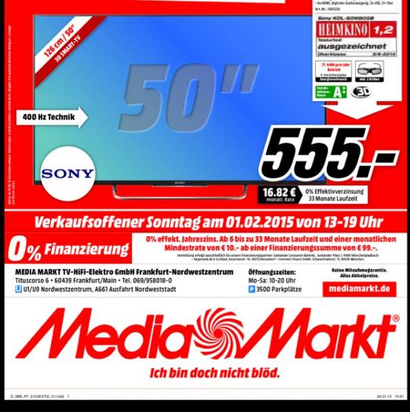 555,- Sony KDL 50 W 805 Media Markt Frankfurt Nordwestzentrum