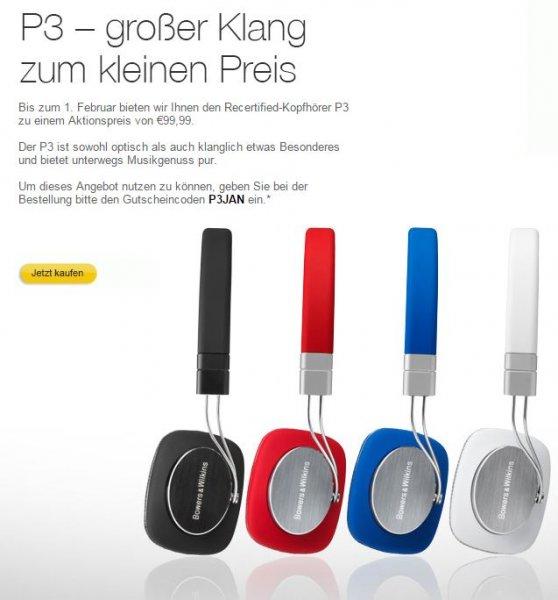Bowers&Wilkins P3 Kopfhörer Recertified - direkt vom Hersteller