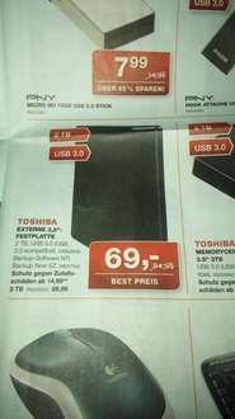 "[STAPLES] Ab 31.01 2TB Toshiba USB 3.0 Festplatte 3""5 für 69€"