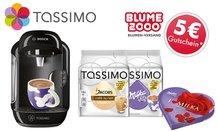 TASSIMO VIVY mit T DISCS Milka und Jacobs Café au lait, Milka Pralinés und Blume2000-Gutschein* inkl. Versand für 33 €