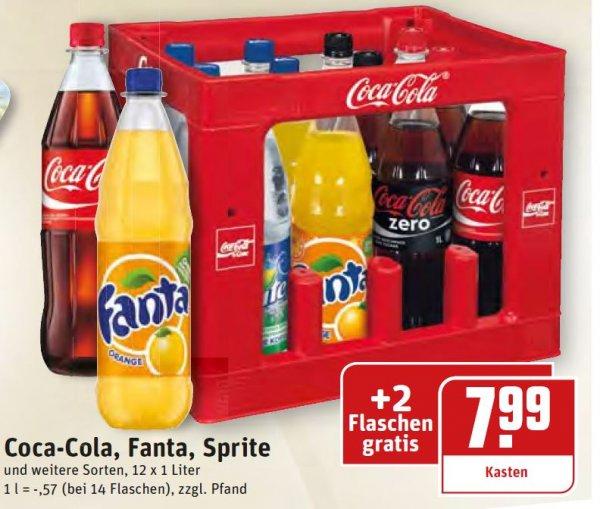 12 x 1 Liter + 2 Flaschen  Coca Cola, Fanta, Sprite  (REWE Dortmund)