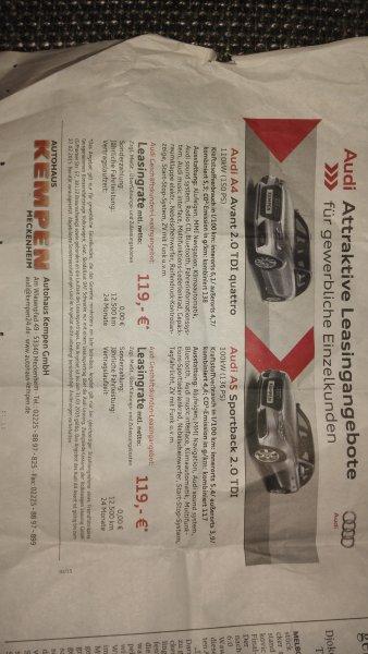 [Lokal, bei Bonn] Audi A4 Avant 2.0 TDI quattro gew. Leasing 119 € netto p.M.