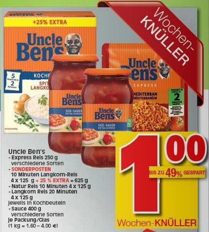 Uncle Bens Express Reis ,Saucen und Kochbeutel Reis duch Coupon umsonst bei Marktkauf HESSEN
