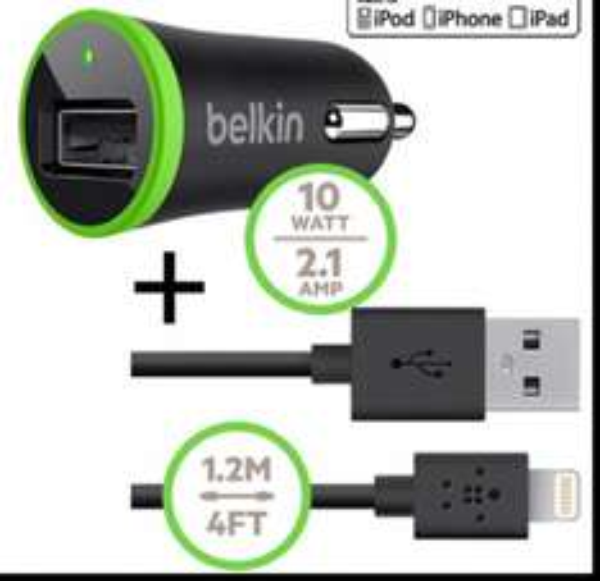 [Prime] Belkin Kfz-Schnellladegerät 2100 mA inkl. 1,2 m Lade/Sync-Lightning-Kabel für iPhone 5/5s/5c/6/6 Plus bei amazon.de nur EUR 10,89