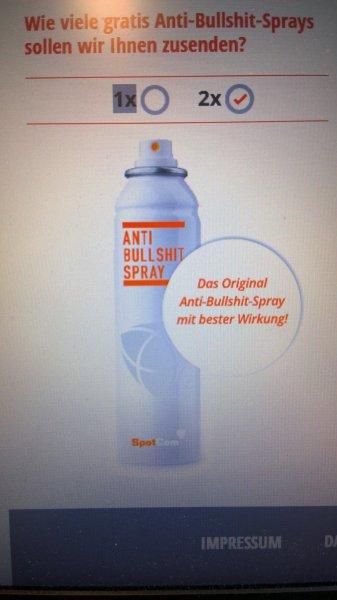 Kostenloses Anti Bullshit Spray (Werbeaktion einer Agentur)