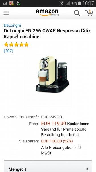 Nespresso EN 266 wieder 119 Euro ZUSCHLAGEN