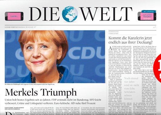 """""""Die Welt"""" (Print) 3 Wochen für effektiv 6,90€ durch 15€ Gutschein"""