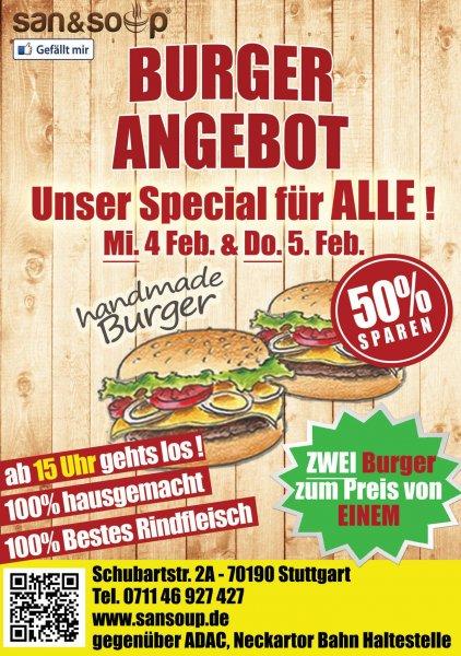 [Lokal Stuttgart] Zwei Burger zum Preis von einem bei San&Soup nur 4. und 5.2.
