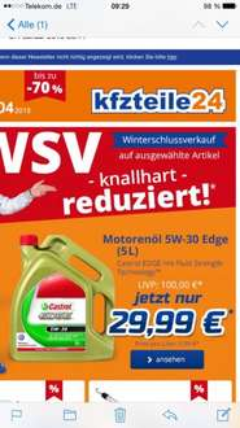 Castrol 5W30 VW Longlife III 29,99  bei kfz Teile 24