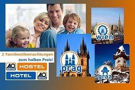 AO Hostels u. Hotels - 2 Familienübernachtungen in Prag, Wien oder Graz