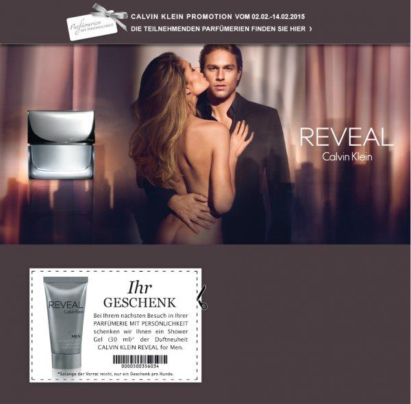 2 mal gratis Showergel: Cloé Love Story (Women) und Calvin Klein Reveal for Men (je 30 ml)