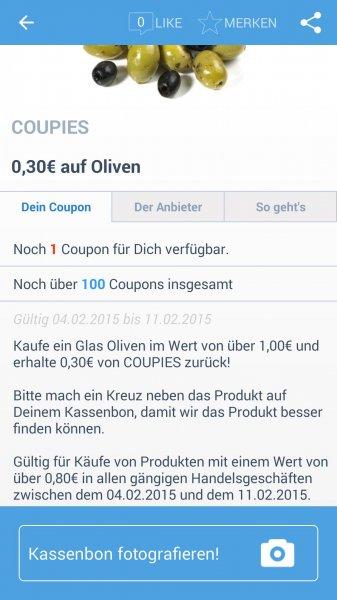 [Coupies] 30 Cent auf Oliven im Wert von mindestens 1 € / 80 Cent