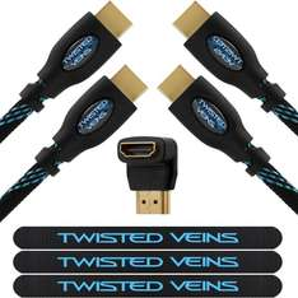 [Amazon - wieder verfügbar] 2x HDMI-Kabel (1,8m) + 1x HDMI-Winkeladapter für 6,33€ [PRIME] - 4,8 Amazon-Sterne