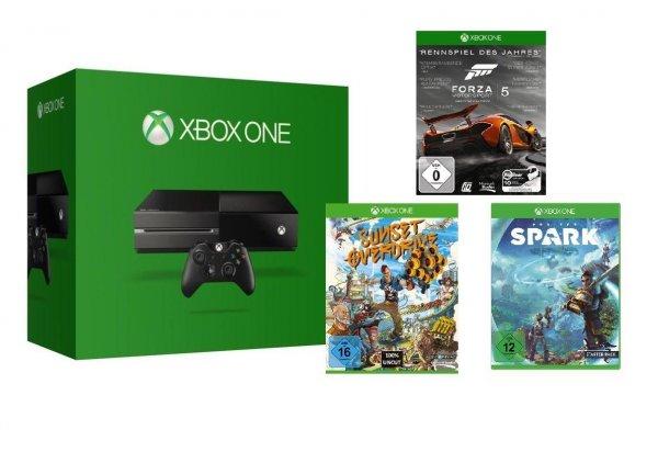 Xbox One + Forza 5, Project Spark und Sunset Overdrive (DISC Versionen!) = 363,99 bei Versand (ebay) oder 359€ bei Abholung Saturn Bremen