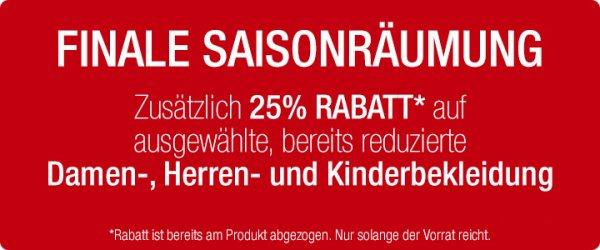 Galeria-Kaufhof - 25 % Rabatt auf ausgewählte, bereits reduzierte Damen-, Herren- und Kinderbekleidung + 9% Qipu + 10 % Newsletter