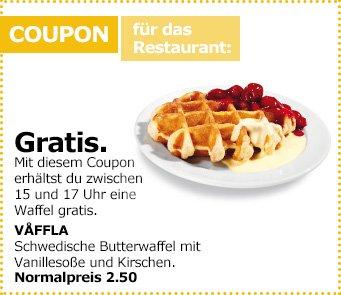 [IKEA] gratis Waffel zwischen 15 und 17 Uhr [offline]