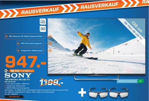 [Lokal Saturn Münster] SONY KDL-55W815 BSAE 2 55 Zoll Full HD Smart TV silber, Motionflow XR 600Hz, WLAN, X-Reality PRO, 3Dfür 947.-€