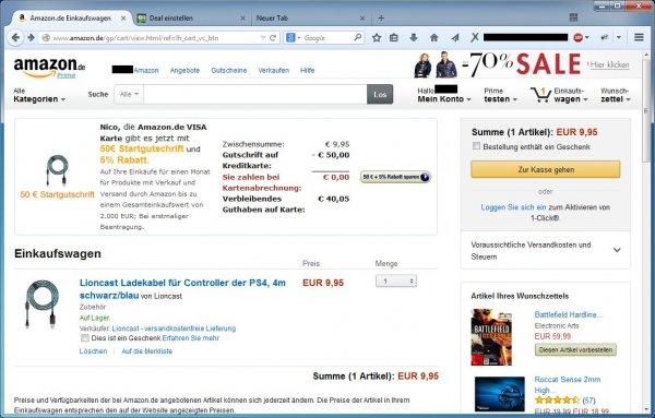 Amazon Visa Karte 50 Euro Startguthaben + 5% Rabatt auf bis zu 2000 Euro / 1 Monat