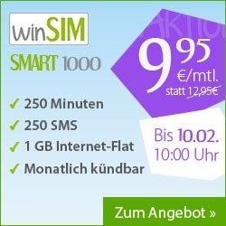 winSIM Smart 1000 für 9,95€/Monat ohne Mindestvetragslaufzeit