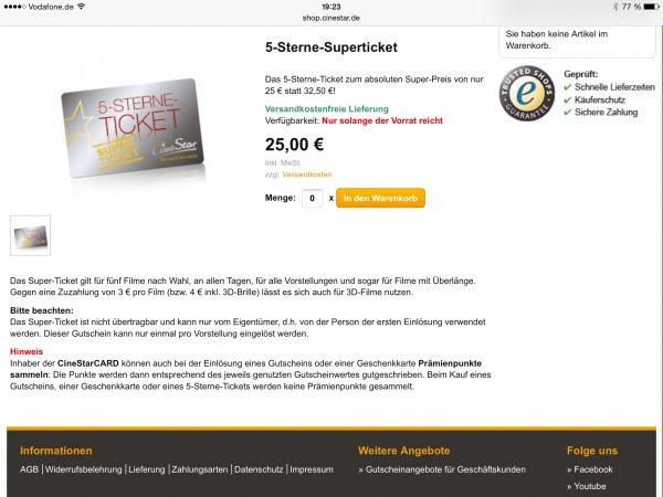 * GEHT WIEDER* Cinestar 5-Sterne-Superticket für 25€