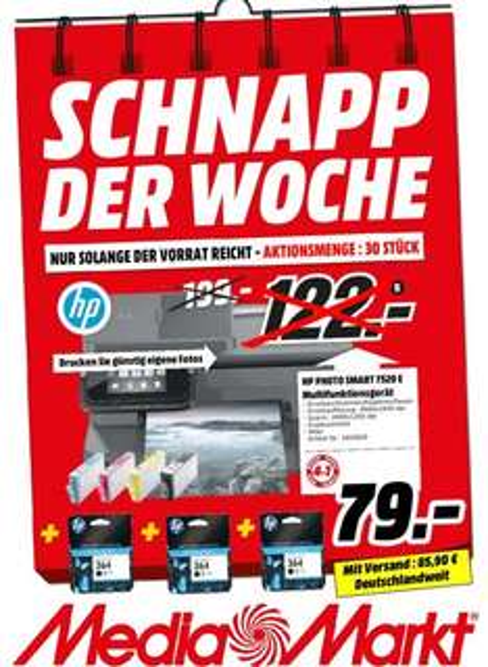 [Lokal Mediamarkt PortaWestfalica] HP Photosmart 7520 Tintenstrahl-Multifunktionsgerät CZ045B (A4, 4-in-1, Drucker, Kopierer, Scanner, Fax, ADF, WLAN) + 3 Gratis Patronen für 79,-€