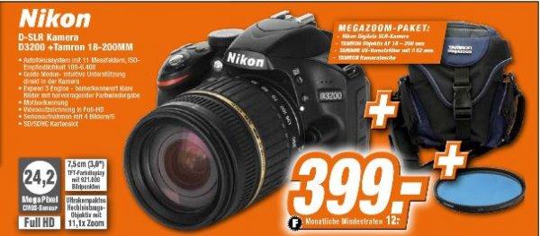 [Expert-Technikmarkt /Offline] Nikon D3200 mit Tamron 18 - 200/3,5-6,3 XR DI ll + 62mm Tamron Vorsatzfilter+ Tamron Megazoom Kameratasche für 399,-€