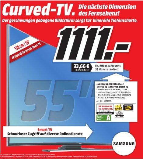 [Lokal MediaMarkt Nordhorn] Samsung UE55HU7200 138 cm (55 Zoll) 4K curved LED-TV, UHD, 800 Hz, Triple Tuner, WLAN, Smart TV, Sprachsteuerung für 1111,-€