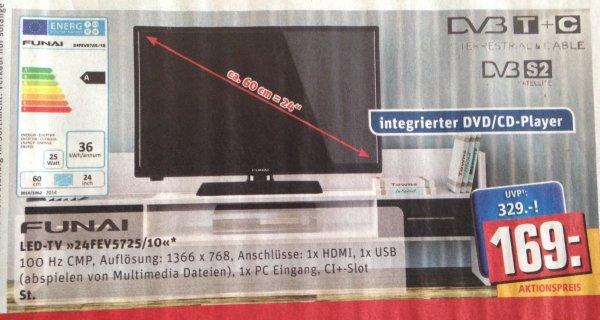Funai LED-TV - 24 Zoll - CD/DVD, USB, DVB-T, DVB-C, DVB-S2 - für 169 € @ REWE (Bundesweit?)