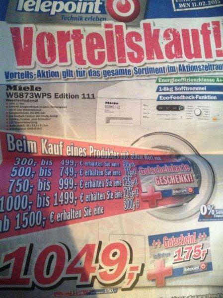 [Telepoint] Miele W5873WPS Edition 111 Waschmaschine + inkl. 175€ Gutschein für 1049,-€ | effektiv: 874€