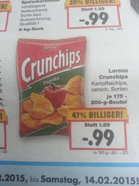[Kaufland Bundesweit] Lorenz Crunchips versch. Sorten 0,99€ statt 1,89€ vom 12.02. bis 14.02.