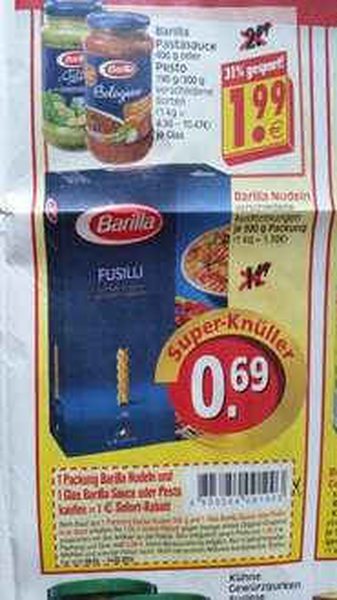 [Lokal - Edeka E Center Herkules] Barilla 500g Nudeln & 1 Glas Sauce oder Pesto
