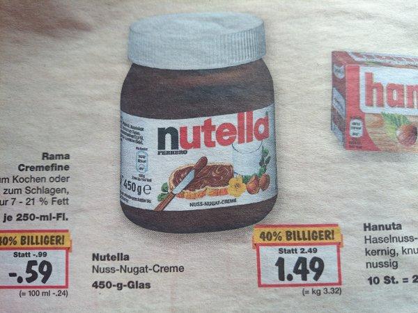 (Lokal Kaufland Nürnberg) Nutella 450 g 1,49€