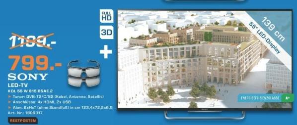 [lokal Saturn Berlin Leipziger Platz] Sony KDL 55 W 815 BSAE - 799 EUR - weitere TV-Schnapper und mehr [Sammelthread]