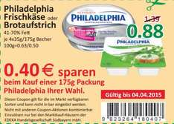 Philadelphia Frsichkäse oder Brotaufstrich bei Marktkauf Südbayern für 0,48 Cent