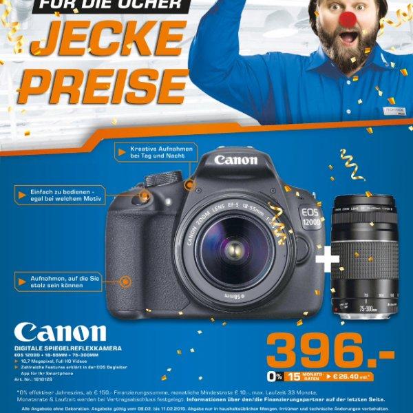 [Saturn Aachen, lokal] Canon EOS 1200d + 18-55mm + 75-300mm für 396€