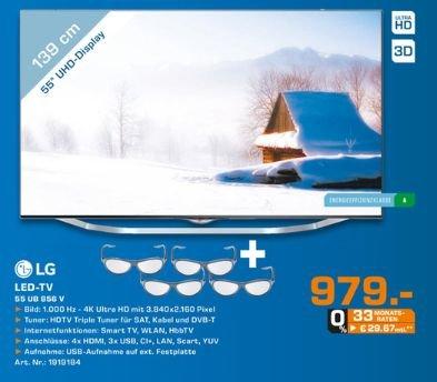 [Lokal Saturn Herford] LG 55UB856V 139 cm (55 Zoll) Cinema 3D LED-Backlight-Fernseher (Ultra HD, 1000Hz UCI, DVB-T/C/S, CI+, Smart TV, HbbTV, 2.0 Soundsystem, 3D Dual Play) für 979,-€....ca.720,-€ unter Idealo