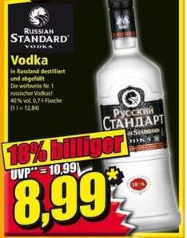 Russian Standard Vodka 0,7L 20.-21.02 bei Norma