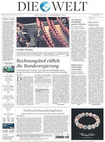 """""""Die Welt"""" Tageszeitung eMagazine für Tablet/Smartphone/PC für 99,99€ statt 155€"""