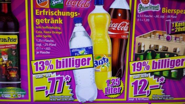 Cola, Fanta, Sprite für 0,77€