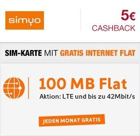 Über qipu Dauerhaft Kostenlose Internet-Flat (100 MB) als Simyo Startpaket für einmalig 4,90€ +5€ Cashback