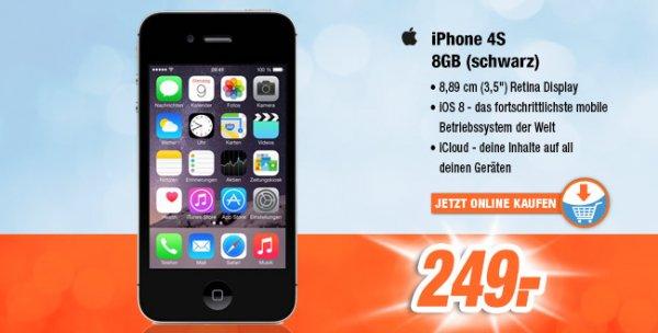 APPLE iPhone 4S 8 GB (schwarz) (Bei Abholung im expert Markt: 249€)