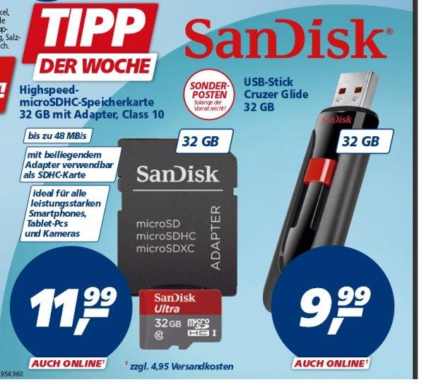[Real] SanDisk Cruzer Glide 32GB für 9,99€ oder  microSDHC-Speicherkarte 32 GB mit Adapter, Class 10 für 11,99€ab 16.02.15