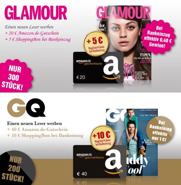GQ Jahresabo für effektiv 1 € oder Glamour Jahresabo mit 0,40 € Gewinn